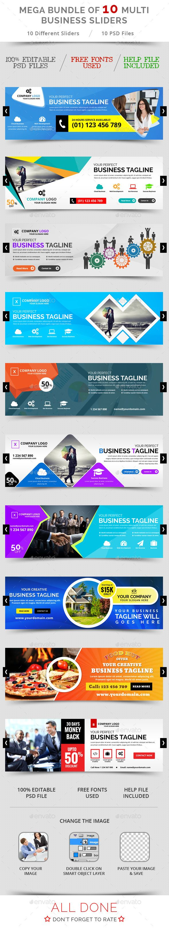 Bundle of 10 Multi Business Sliders Template PSD. Download here…