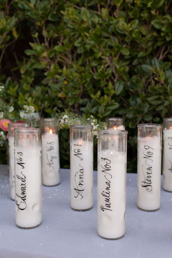 Calligraphy Candle Place Cards - Oh Happy Day!