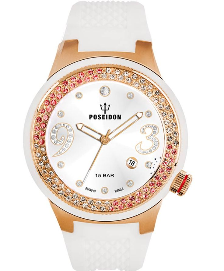 POSEIDON Crystal Ladies Rose Gold White Silicone Strap Τιμή: 159€ http://www.oroloi.gr/product_info.php?products_id=34117