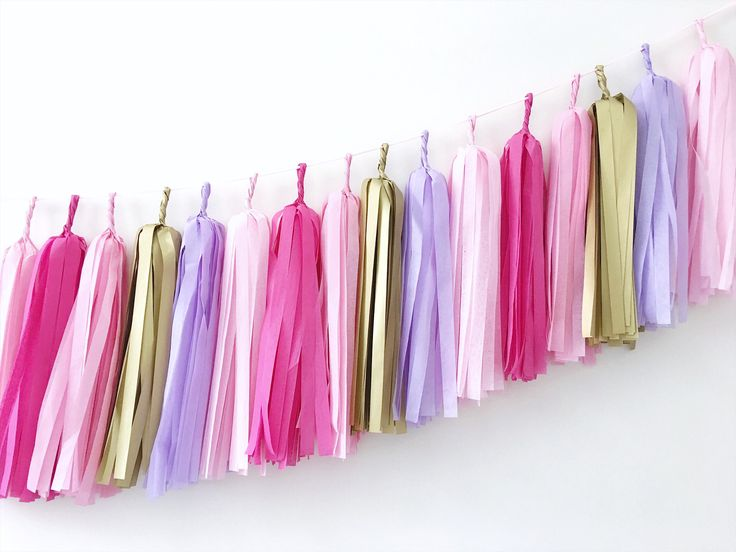 Excited to share the latest addition to my #etsy shop: Pink Purple Gold Tassel Garland Girl Room Decoration Pink Purple Gold Princess Birthday Backdrop Banner Photo Backdrop Violet Paper Garland
