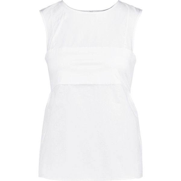 T by Alexander Wang - Paneled Cotton-poplin Top ($88) ❤ liked on Polyvore featuring tops, white, t by alexander wang, white bralette top, white top, slouchy tops and white open back top