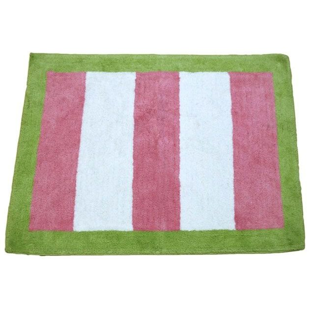 Soft pink & white stripe rug with lime green border is 100% cotton.  Rug has spray latex backing so rug stays in place.   Machine wash cold, gentle cycle and tumble dry low.  Measures 100cm x 75cm.