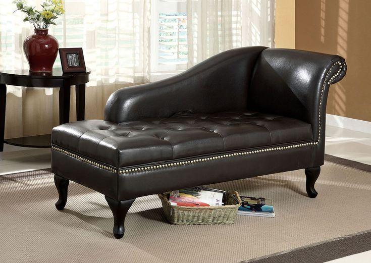 Lakeport Black Storage Chaise w/Nailhead Trim,Furniture of America