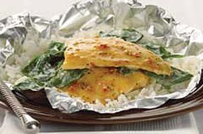 Foil-Pack Fish & Rice recipe. You can change this up & use any type of fish & sauce you like. I do it with salmon & teriyaki sauce. Delish!