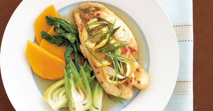 This healthy baked fish incorporates Asian-style vegetables for a complete family meal.