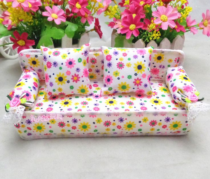 Free shipping Three-piece pink floral sofa doll furniture accessories Toys for girls Accessories for dolls 20*7*7.5cm