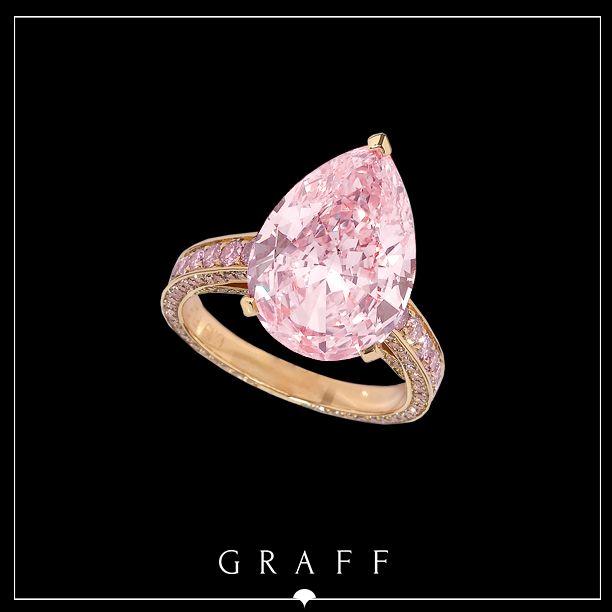 A mesmerising 6.19ct Fancy Intense Pink Pear Shape diamond set with a Round Pink diamond shank.  #graffdiamonds #graff #pinkdiamond #bridal