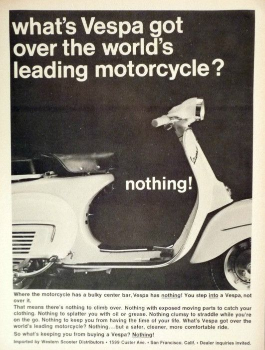 """1965 Vespa Scooter Ad """"Nothing"""""""