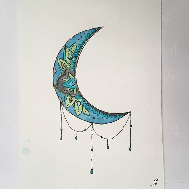 I loved this tattoo and thought some color would make it prettier. 😊    #sketch #watercolor #waterpaint #waterpainting #watercoloring #paint #color #moon #tattoo