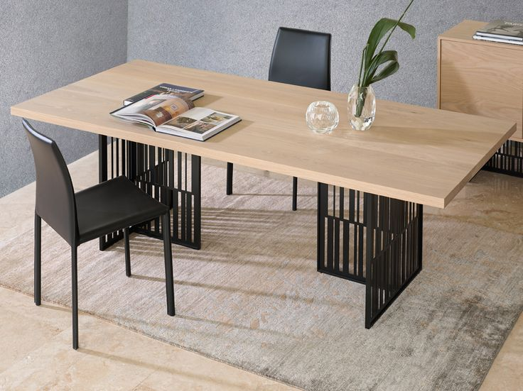 BARCODE dining table in solid oak wood top and metal legs