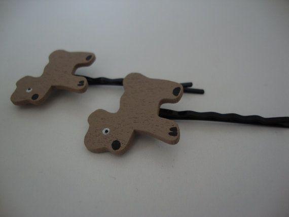Wooden dog hair grips $5
