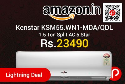 Amazon #LightningDeal is offering 11% off on Kenstar KSM55.WN1-MDA/QDL 1.5 Ton Split AC 5 Star at Rs.23490 Only. Aluminium Condenser, 1 year comprehensive and 5 years on compressor.  http://www.paisebachaoindia.com/kenstar-ksm55-wn1-mdaqdl-1-5-ton-split-ac-5-star-at-rs-23490-only-amazon/