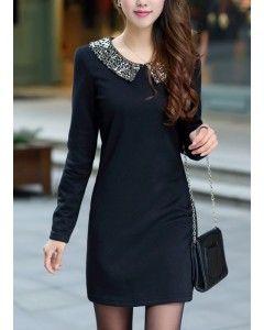 Black Peter Pan Sequin Collar Dress