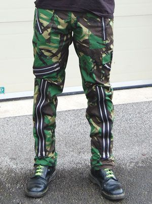 Original 15 Zip Bondage Pants by Tiger Of London- GREEN CAMO