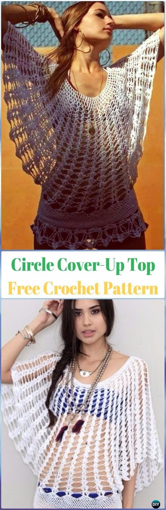 Crochet Circle Beach Cover-Up Top Free Pattern - Crochet Beach Cover Up Free Patterns