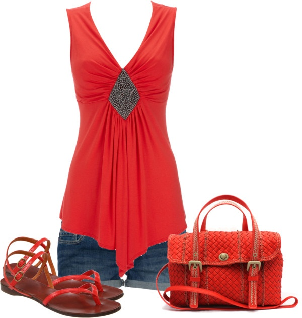 """""""Untitled #287"""" by johnna-cameron on Polyvore: Cute Tops, Red Fashion, Coach Bags, Summer Outfits, Shorts Shirts, Shoes Bags, Summer Chic, Red Shirts, Perfect Outfits"""