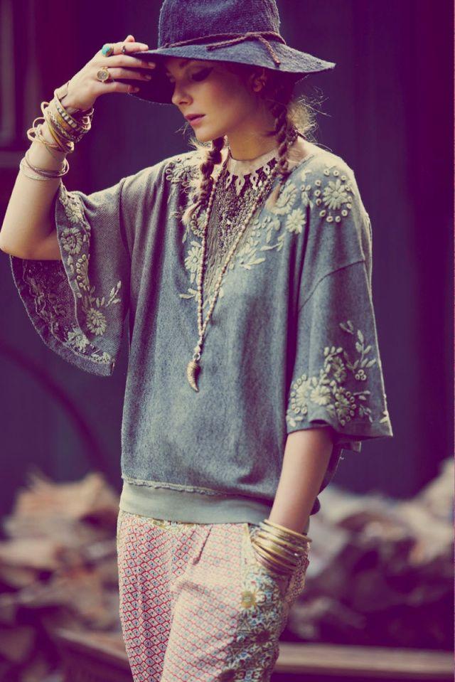 Modern hippie style long necklace & stacked bracelets ...