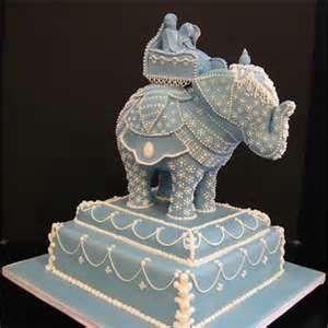 Beautiful blue elephant cake