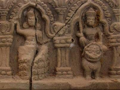 Rahu and Ketu, Prasat Puai Noi, Khon Kaen. 11th century AD.  Rahu ascends from a whirlwind and holds the crescent moon.  Ketu rides the simha, a mythological lion.