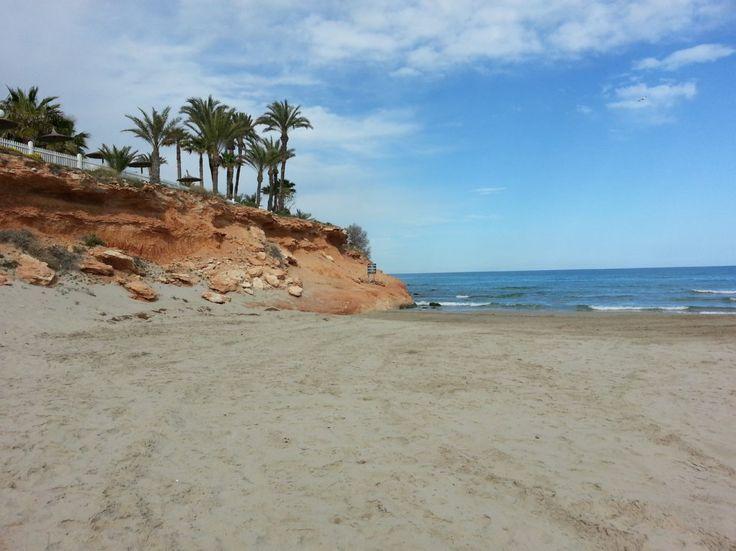 A beach in Orihulea Costa, the southern part of Costa Blanca, Spain.