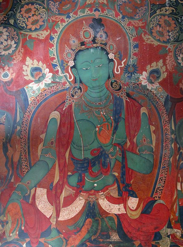This Green Tara was painted in one of the Kumbum cambers and likely dates not long after the site was founded in 1427.  The style of this image suggests that Newari artists from Nepal had a hand in imagery of this important religious structure.