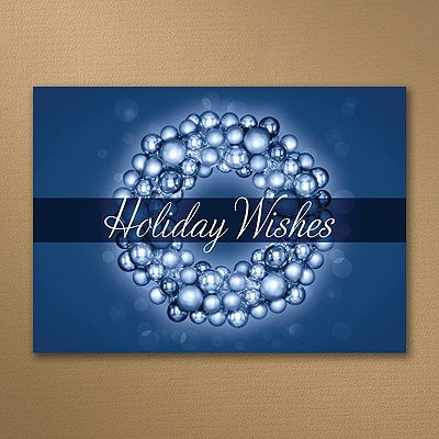 Ornamental Wreath - Navy - Holiday Card