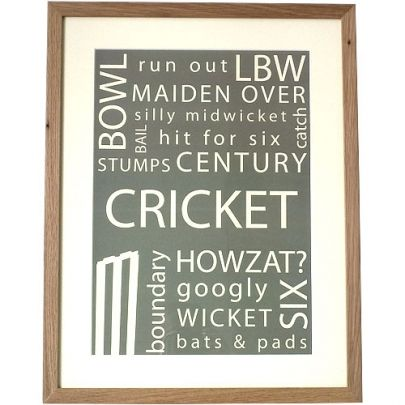 Typographic Art Cricket Print | Sport Mad | Gifts | Swanky Maison