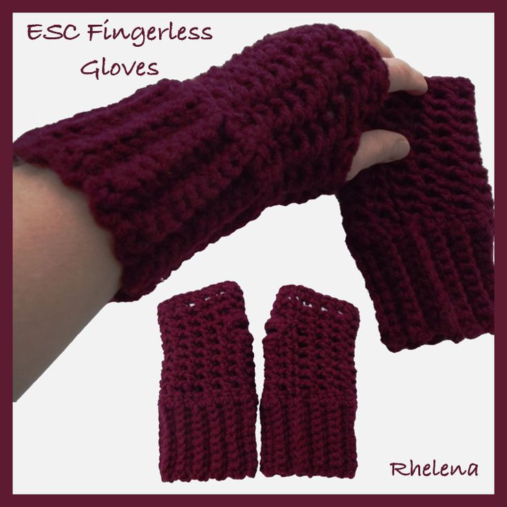 Free Crochet Pattern Ladies Mittens : ESC Fingerless Gloves ~ free pattern crochet gloves and ...
