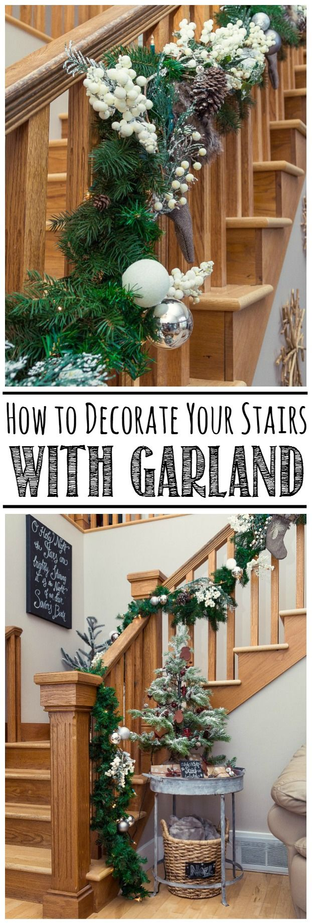 Great tips on how to put together a pretty Christmas garland and how to  hang it