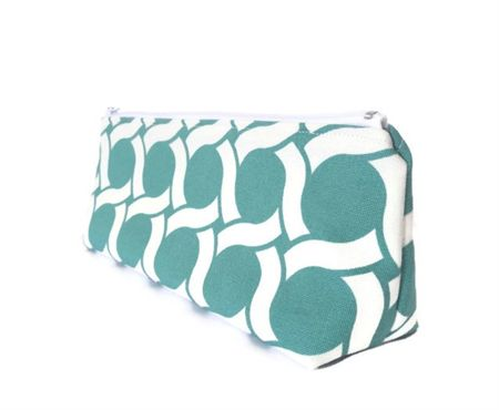 Turquoise Chain Circle Makeup Zipper Pouch // Stationery Pencil Case