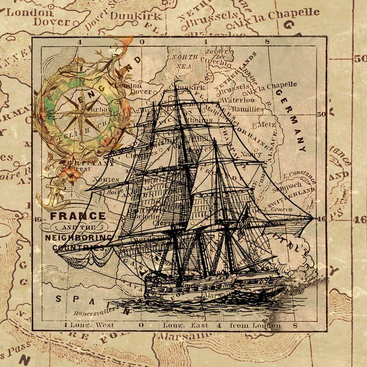 Navire, Carte, Navigation, Vintage, Collage, Art