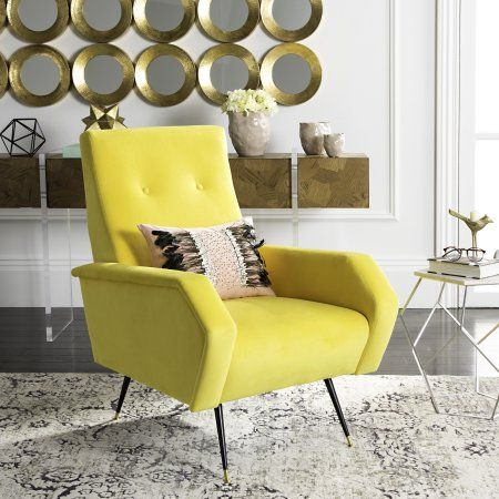 Safavieh Aida Velvet Retro Mid Century Accent Chair, Yellow