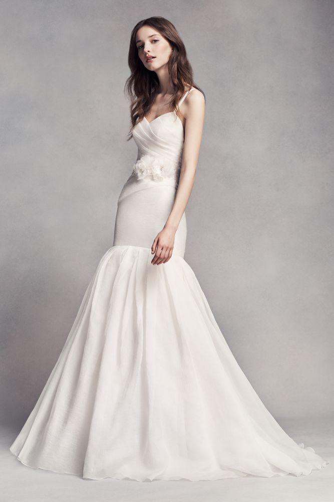 Extra Length White by Vera Wang Textured Organza Wedding Dress - Ivory, 10