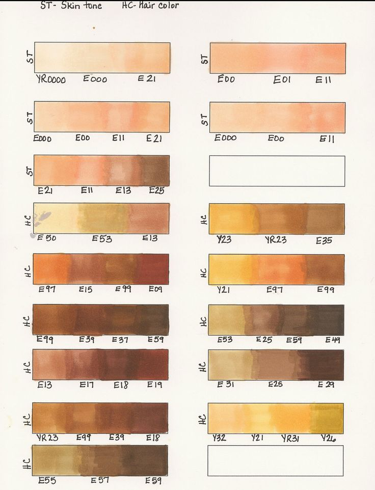 Copic Hair Color Combos | Copic Marker Hair Combinations and Skin Combinations
