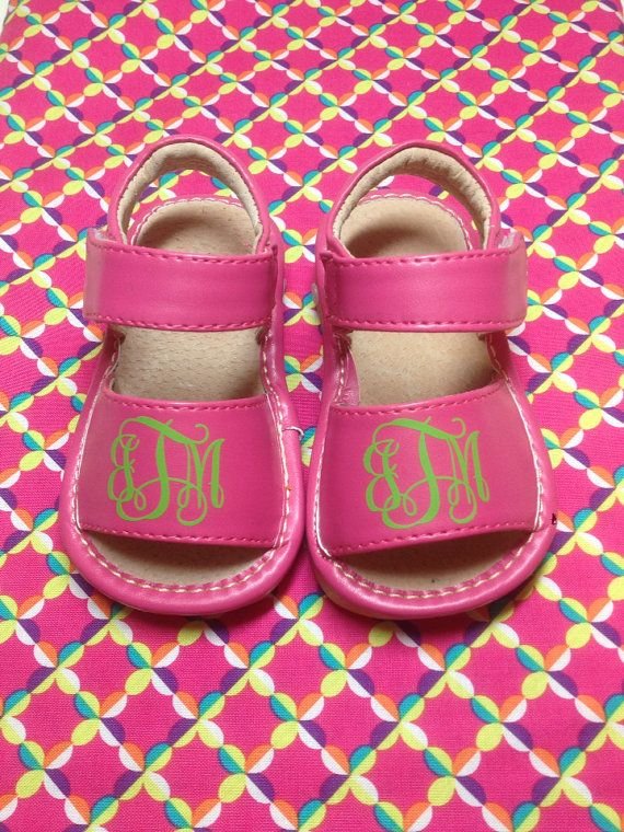 Pink Monogrammed Girl's Squeaky Shoes by Gramono on Etsy, $30.00