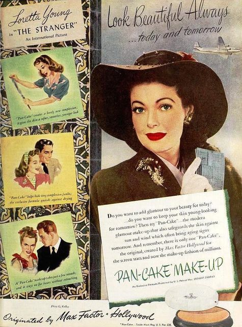 Loretta Young for Max Factor Pan-cake Makeup, September 1946. #vintage #1940s #makeup #beauty
