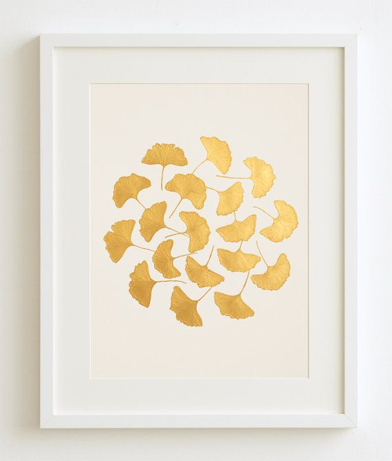 Gold hand painted Original Painting of Ginkgo Leaves Easter Gift Gold Wall Art Botanic Art Gold Home Decor Gold Gold Wall Decor No: 01