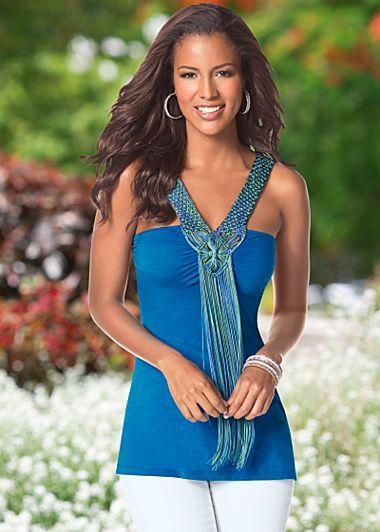Bright blue fringe top. Sizes XS-XL.