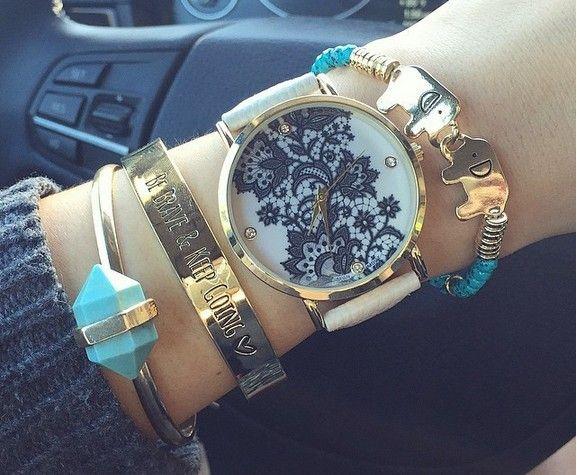 Zegarek GENEVA Platinum Koronkowy Koronka Glamour