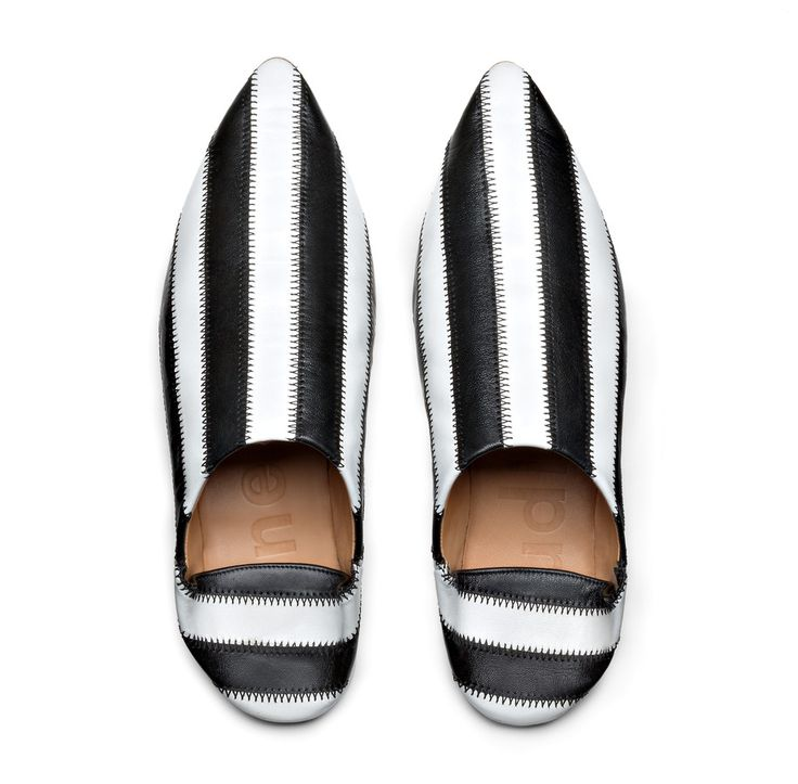 Amina patch white/black striped patchwork slipper #AcneStudios #SS16 #shoes