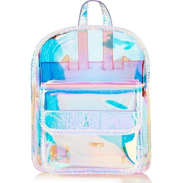 Two Bags Per Set New Newspaper Inspired PVC Transparent Clear Holographic Mini Backpack Womens Backpack Travel Bag Concert Bag Beach Bag