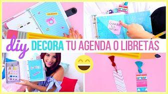 DIY DECORA TUS CUADERNOS, AGENDA O CARPETA POR EL INTERIOR FÁCIL ♥ Jimena Aguilar - YouTube