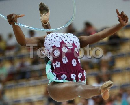 2247250 Russia, Kazan. 07/14/2013 Grace Legote (South Africa) performs the hoop routine during the finals of the rhythmic gymnastics individual all-around competition at the 27th World University Summer Games in Kazan. Vladimir Vyatkin/RIA Novosti