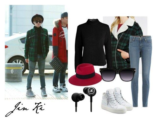 """Onew Outfit #1"" by sehunnie-baekhyunnie on Polyvore featuring moda, Designers Remix, Paige Denim, MAISON MICHEL PARIS y Giuseppe Zanotti"