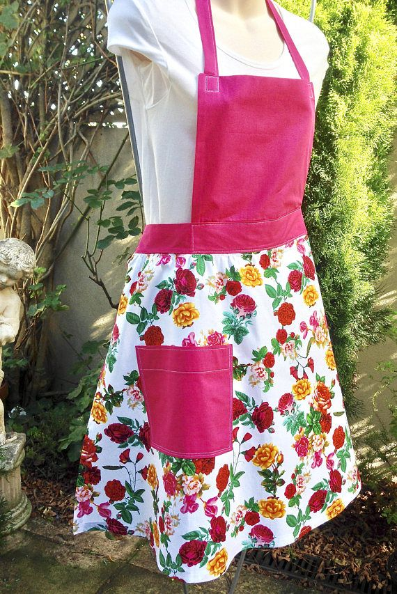 Full Apron with Pocket Handmade Floral Vintage Style Bib