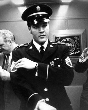 On the train headed home for Memphis on March 7, 1960. Elvis was asked about the insignia on his uniform coat being different. He explained that just before leaving Germany, he had been promoted to Staff Sergeant, but had just gotten the correct insignia put on.