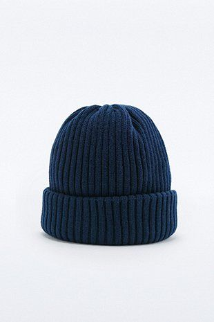 "Gerippte Beanie ""Watchman"" in Marineblau"