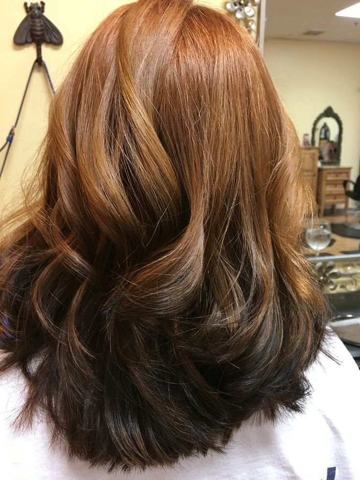 Reverse ombre red to brown More