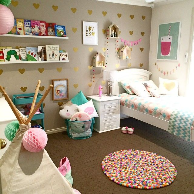 Like The Stencil Gold Heart Idea And Soft Colours 20 Whimsical Toddler Bedrooms For Little Girls