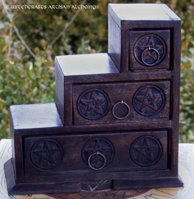 Witchcrafts Artisan Alchemy - 3 Step Wooden Pentagram Box, $53.95 (http://www.witchcraftsartisanalchemy.com/3-step-wooden-pentagram-box/)